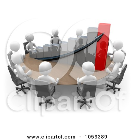 Royalty-Free CGI Clip Art Illustration of 3d White People Discussing A Bar Graph At A Meeting Table by 3poD