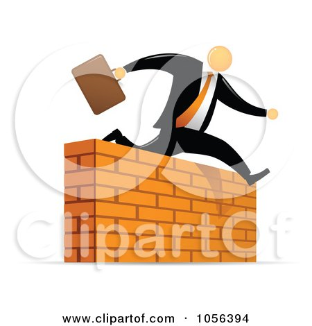 Royalty-Free Vector Clip Art Illustration of an Orange Faceless Businessman Leaping Over A Brick Wall Obstacle by Qiun