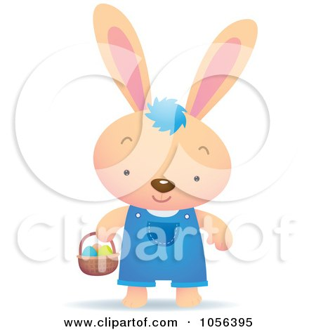 Royalty-Free Vector Clip Art Illustration of a Boy Bunny Hunting For Easter Eggs by Qiun
