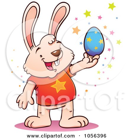 Royalty-Free Vector Clip Art Illustration of a Cartoon Bunny Holding A Blue Easter Egg, With Stars by Qiun