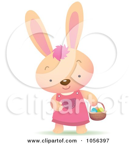 Royalty-Free Vector Clip Art Illustration of a Girl Bunny Hunting For Easter Eggs by Qiun