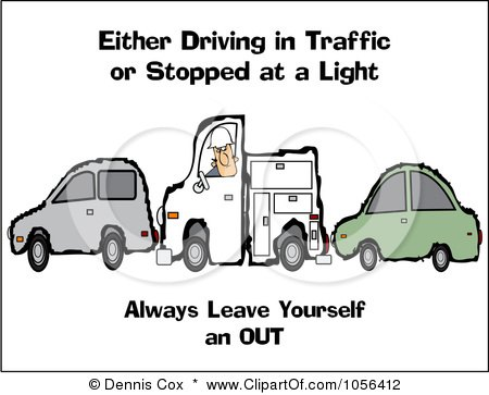 Royalty-Free Vector Clip Art Illustration of a Utility Truck Sandwiched Between Two Cars With Safety Text by djart