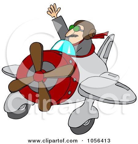 Royalty-Free Vector Clip Art Illustration of a Waving Pilot Flying His Plane by djart