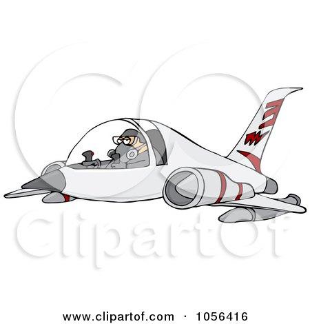 Royalty-Free Vector Clip Art Illustration of a Pilot Flying A Jet by djart
