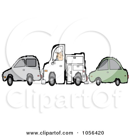 Royalty-Free Vector Clip Art Illustration of a Worker Man And His Utility Truck Stuck Between Two Cars by djart