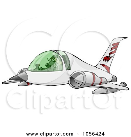 Royalty-Free Clip Art Illustration of a Man Flying A Jet by djart