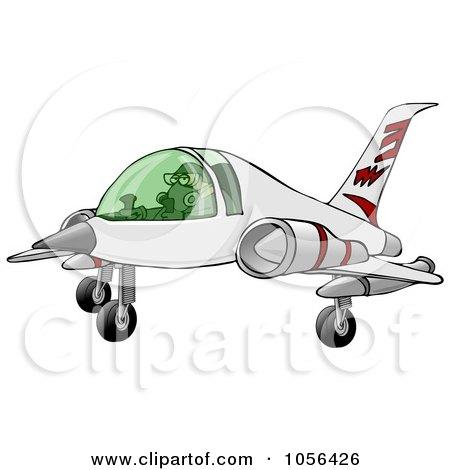 Royalty-Free Clip Art Illustration of a Man Landing A Jet by djart