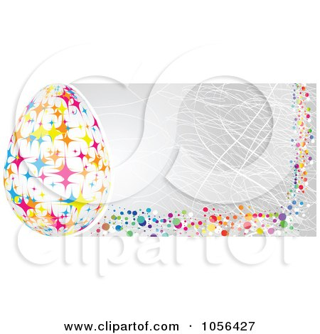Royalty-Free Vector Clip Art Illustration of an Easter Egg And Gray Banner by Andrei Marincas