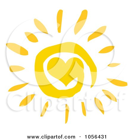 Royalty-Free Vector Clip Art Illustration of a Yellow Spiral And Heart Sun by Hit Toon