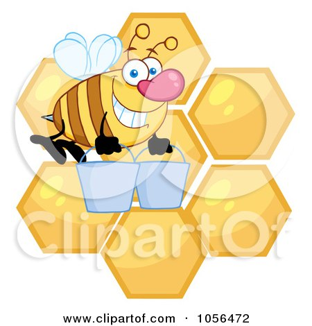 Royalty-Free Vector Clip Art Illustration of a Worker Bee Carrying Two Buckets Over Honey Combs by Hit Toon