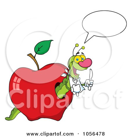Royalty-Free Vector Clip Art Illustration of a Hungry Talking Worm In A Red Apple by Hit Toon