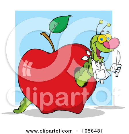 Royalty-Free Vector Clip Art Illustration of a Hungry Worm In A Red Apple Over A Blue Square by Hit Toon