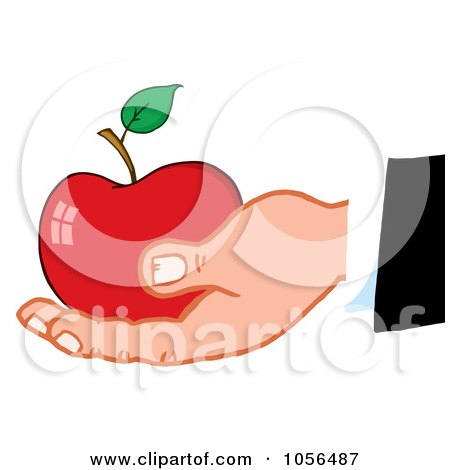 Royalty-Free Vector Clip Art Illustration of a Caucasian Hand Holding A Red Apple by Hit Toon