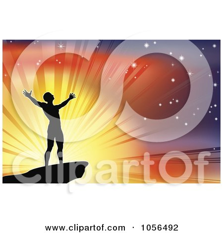 Royalty-Free Vector Clip Art Illustration of a Silhouetted Joyous Man Against A Glorious Sky by AtStockIllustration
