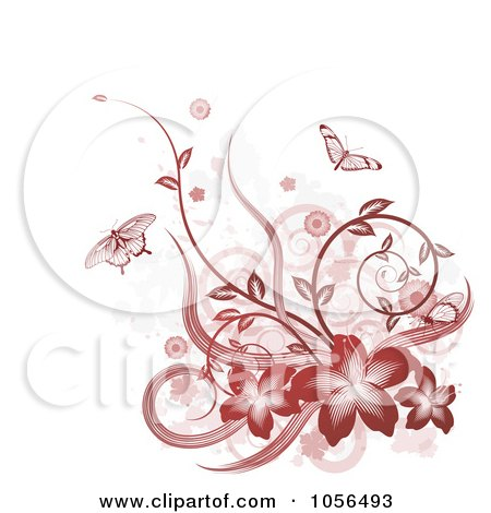 Royalty-Free Vector Clip Art Illustration of a Red Hibiscus, Butterfly, Vine And Grunge Design Element by AtStockIllustration