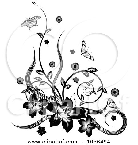 Royalty-Free Vector Clip Art Illustration of a Black And White Floral Vine Corner Design With Butterflies by AtStockIllustration