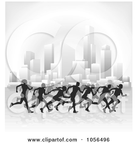 Royalty-Free Vector Clip Art Illustration of Silhouetted Runners Racing Through A City by AtStockIllustration
