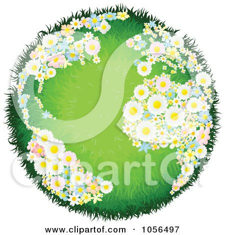 Royalty-Free Vector Clip Art Illustration of a Grassy Globe With Floral Continents by AtStockIllustration