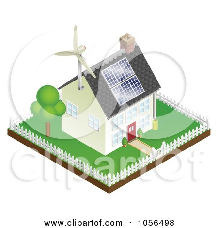 Royalty-Free Vector Clip Art Illustration of a 3d Sustainable Energy Home With Roof Solar Panels And A Wind Turbine by AtStockIllustration