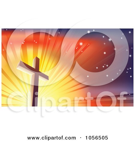 Royalty-Free Vector Clip Art Illustration of a Crucifix Against A Shining Colorful Sky by AtStockIllustration