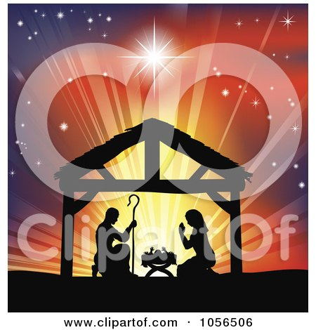 Royalty-Free Vector Clip Art Illustration of a Silhouetted Christian Christmas Nativity Scene Against A Colorful Shining Sky by AtStockIllustration