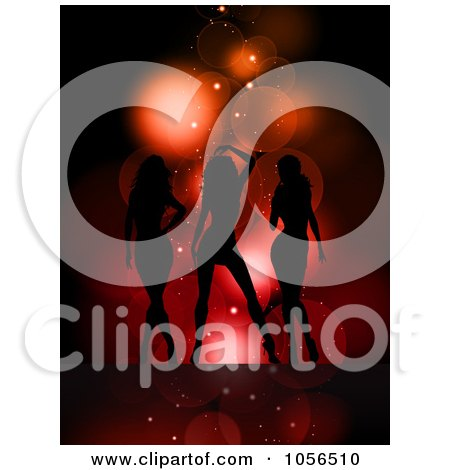 Royalty-Free Vector Clip Art Illustration of Three Sexy Silhouetted Women On Red by KJ Pargeter