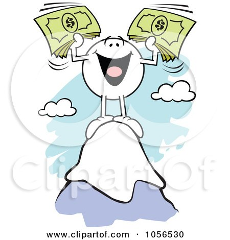 Royalty-Free Vector Clip Art Illustration of a Rich Moodie Character Standing On Top Of A Mountain by Johnny Sajem