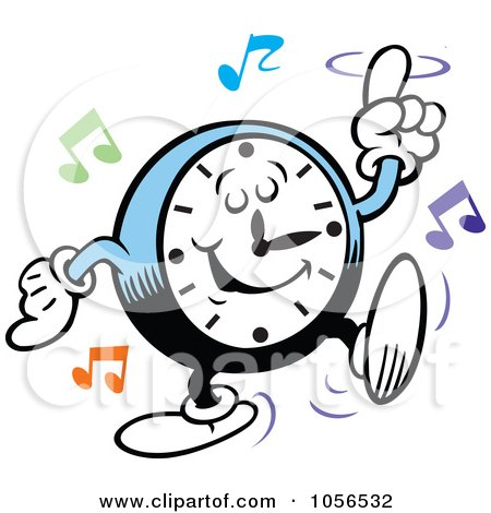 Royalty-Free Vector Clip Art Illustration of a Clock Rocking To Music by Johnny Sajem