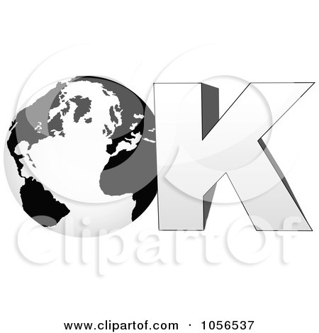 Royalty-Free Vector Clip Art Illustration of a 3d Globe In The Word Ok - 1 by Andrei Marincas