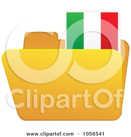 Royalty-Free Vector Clip Art Illustration of a Yellow Folder With An Italian Flag Tab by Andrei Marincas