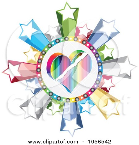 Royalty-Free Vector Clip Art Illustration of a Colorful Heart Poker Circle With Stars by Andrei Marincas