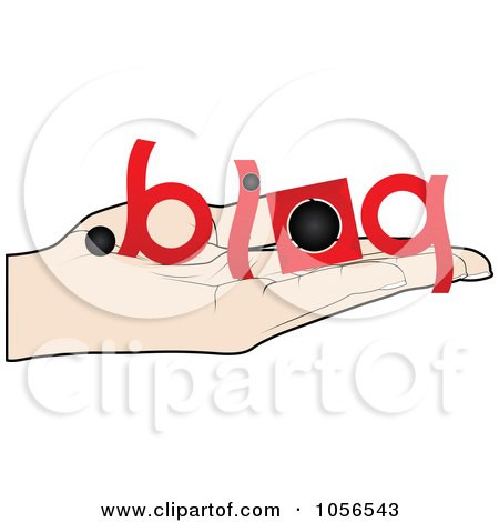 Royalty-Free Vector Clip Art Illustration of a Hand Holding A Blog Offer by Andrei Marincas