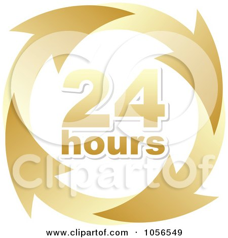 Royalty-Free Vector Clip Art Illustration of a Gold 24 Hours And Arrows Sign by Andrei Marincas