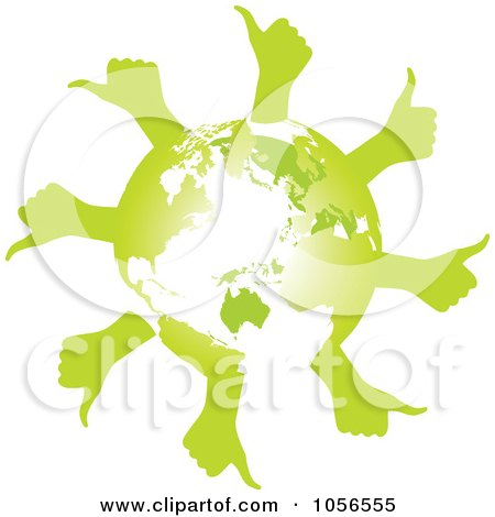 Royalty-Free Vector Clip Art Illustration of a Green Globe With Thumb Up Hands - 1 by Andrei Marincas