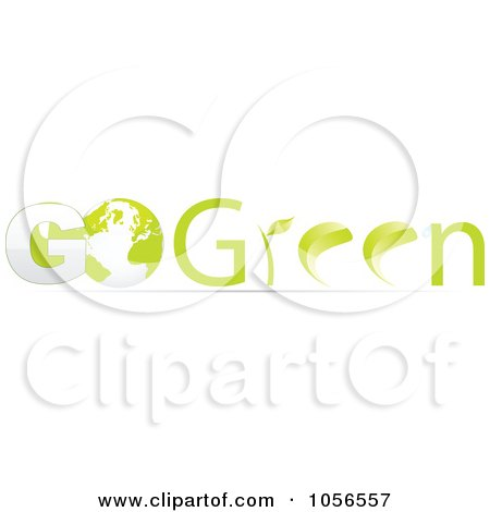 Royalty-Free Vector Clip Art Illustration of a 3d Go Green With A Globe by Andrei Marincas