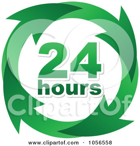 Royalty-Free Vector Clip Art Illustration of a Green 24 Hours And Arrows Sign by Andrei Marincas