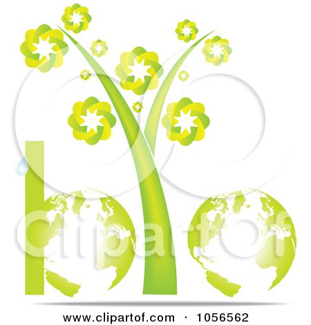 Royalty-Free Vector Clip Art Illustration of a Bio Word Made Of Globes, Stems And A Droplet by Andrei Marincas