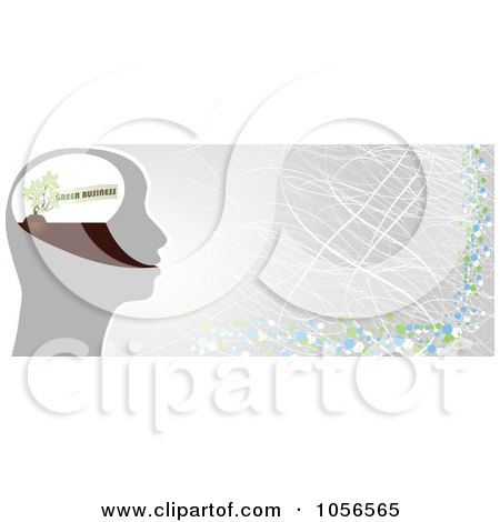 Royalty-Free Vector Clip Art Illustration of a Green Business Brain And Gray Banner by Andrei Marincas