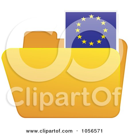 Royalty-Free Vector Clip Art Illustration of a Yellow Folder With A European Flag Tab by Andrei Marincas