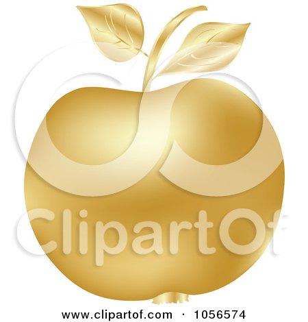 Royalty-Free Vector Clip Art Illustration of a 3d Golden Apple by Andrei Marincas