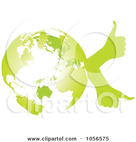 Royalty-Free Vector Clip Art Illustration of a Green Globe With Thumb Up Hands - 2 by Andrei Marincas
