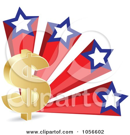 Royalty-Free Vector Clip Art Illustration of a 3d Gold Dollar Symbol And American Stars by Andrei Marincas