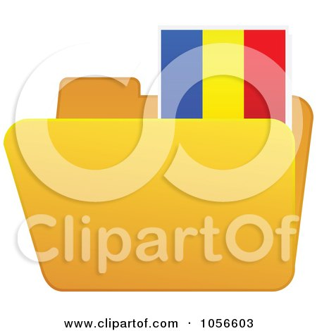 Royalty-Free Vector Clip Art Illustration of a Yellow Folder With A Romanian Flag Tab by Andrei Marincas