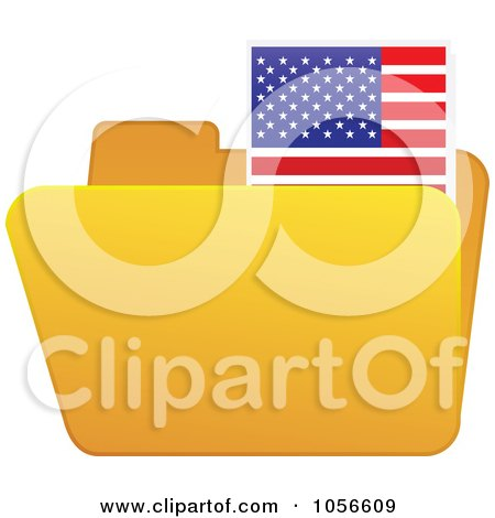 Royalty-Free Vector Clip Art Illustration of a Yellow Folder With An American Flag Tab by Andrei Marincas