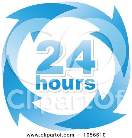 Royalty-Free Vector Clip Art Illustration of a Blue 24 Hours And Arrows Sign by Andrei Marincas