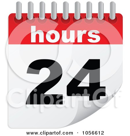 Royalty-Free Vector Clip Art Illustration of a 24 Hours Turning Calendar by Andrei Marincas