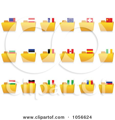 Royalty-Free Vector Clip Art Illustration of a Digital Collage Of Yellow Folders With National Flag Tabs by Andrei Marincas
