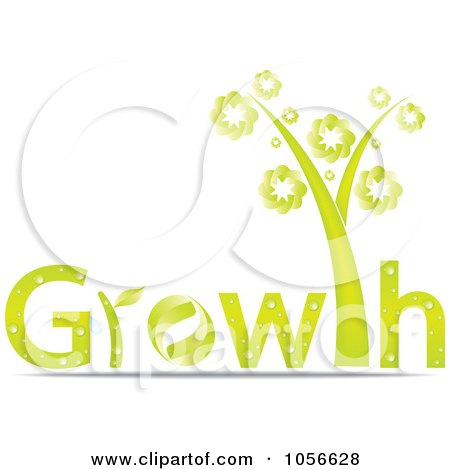 Royalty-Free Vector Clip Art Illustration of a Tree As The T In The Word GROWTH by Andrei Marincas