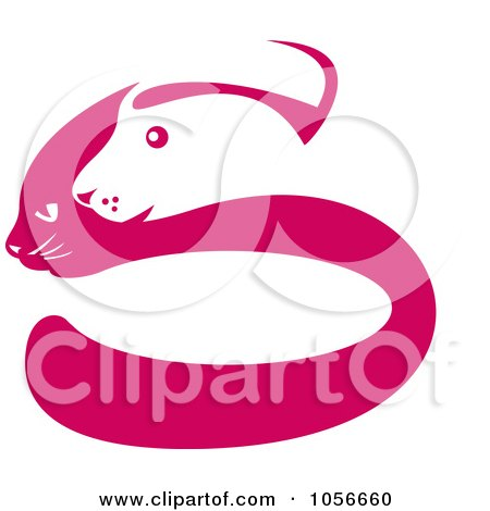 Royalty-Free Clip Art Illustration of a Pink And White Dog And Cat Face Silhouette Logo by patrimonio