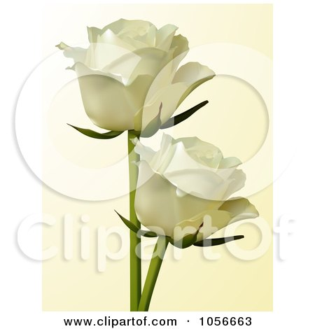 Royalty-Free Vector Clip Art Illustration of Two Ivory Roses On Beige by elaineitalia